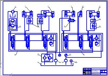Схема гидравлическая принципиальная экскаватора эцу-150 с погрузчиком.