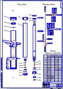 Схема и маршрут сборки амортизаторной стойки